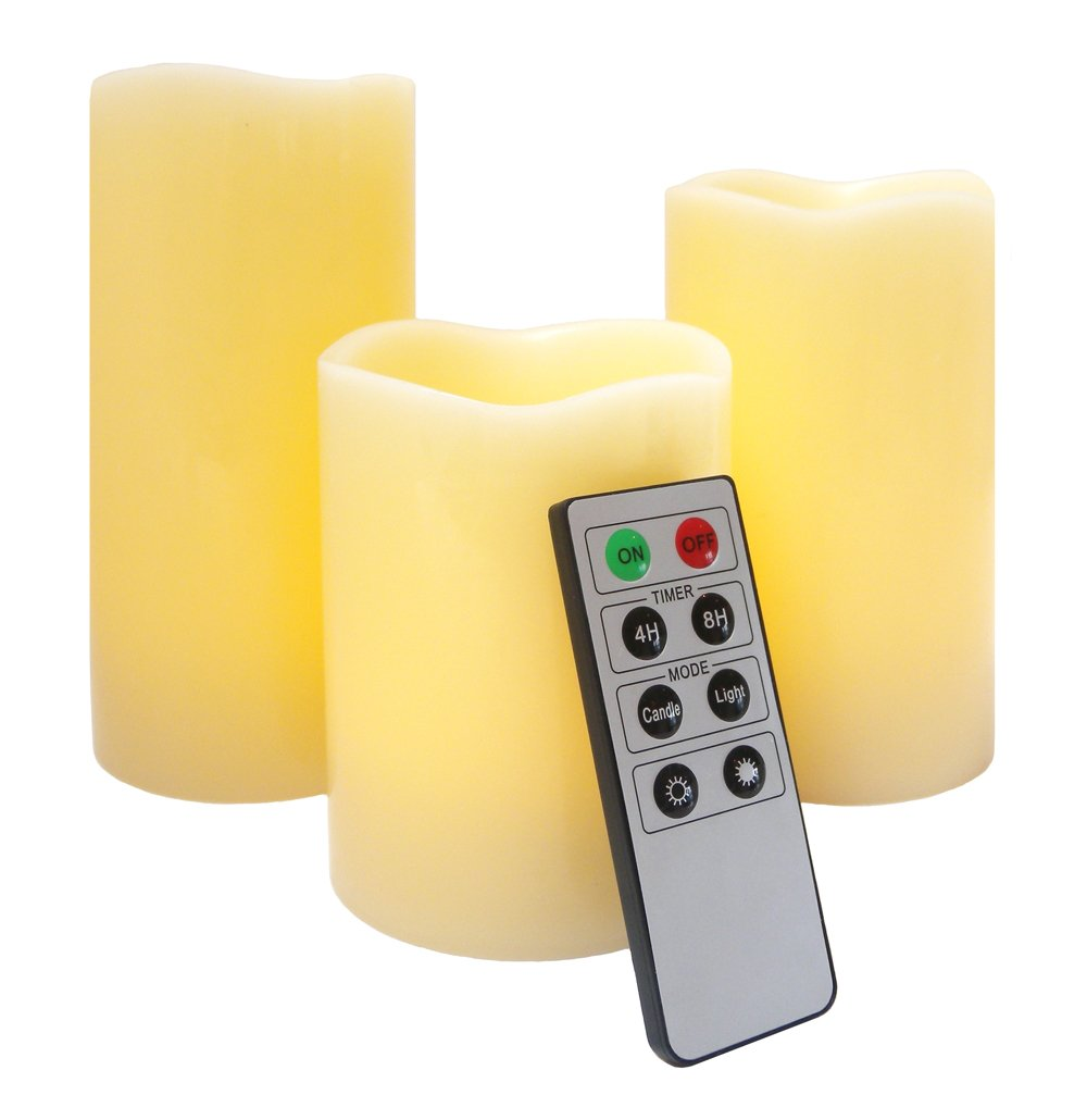 Flameless LED Candles - 3 Mooncandles with Remote Control