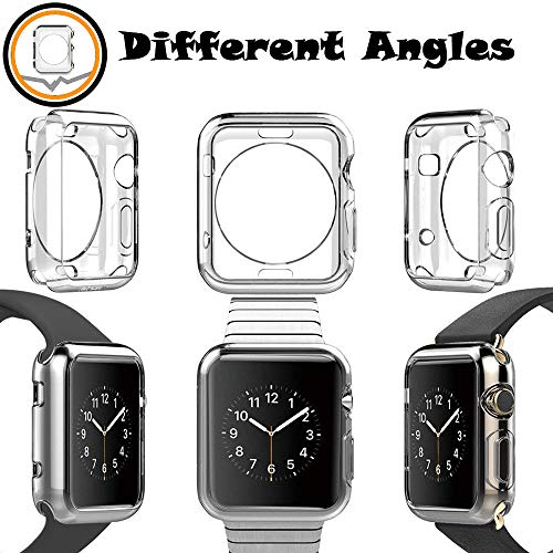 2 Packs, Jinxtech 40mm iWatch Case Soft TPU Shockproof Case Cover Bumper Protector Compatible with Apple Watch Case Series 4 (40mm)(Clear) by Jinxtech (Image #1)