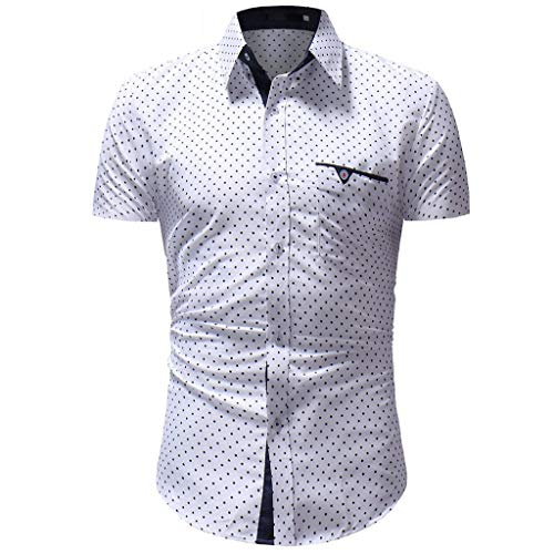 TANGSen_Mens Solid Casual Button Down Top Summer Dot Print Fashion Short Sleeve Shirt Top Plus Size Blouse White
