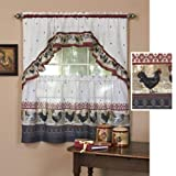 Achim Home Furnishings Rooster Tier and Swag