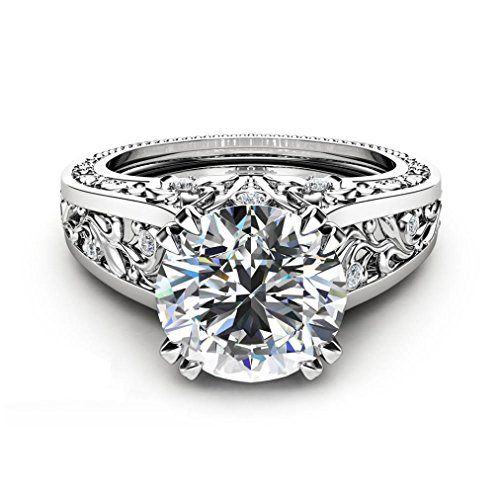 Challyhope Clearance! Classic Halo Style Eight Heart Eight Arrow Inserts Round Simulated Brilliant Diamond Wedding Engagement Ring For Women (Silver, Size 10)