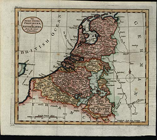 Netherlands 1792 Kitchin attractive scarce hand colored 18th century map