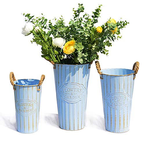 Farm Pitcher (Revolumini Handmade Ikebana Vase Vintage Flower Vase for Silk Flower Artificial Flower French Bucket with Handle Pitcher Pail Farmhouse Style Centerpiece - Set of 3 (Blue))