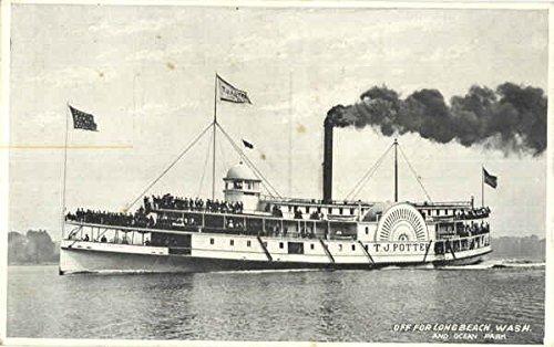 TJ Potter Off For Long Beach Boats Ships Original Vintage Postcard from CardCow Vintage Postcards
