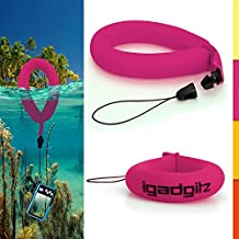 iGadgitz 1 Pack Neon Pink Waterproof Floating Wrist Strap suitable for use with Fujifilm FinePix XP Series Tough XP10, XP20, XP30, XP50, XP51, XP60, XP80, XP90, XP150, XP170, XP200 Cameras
