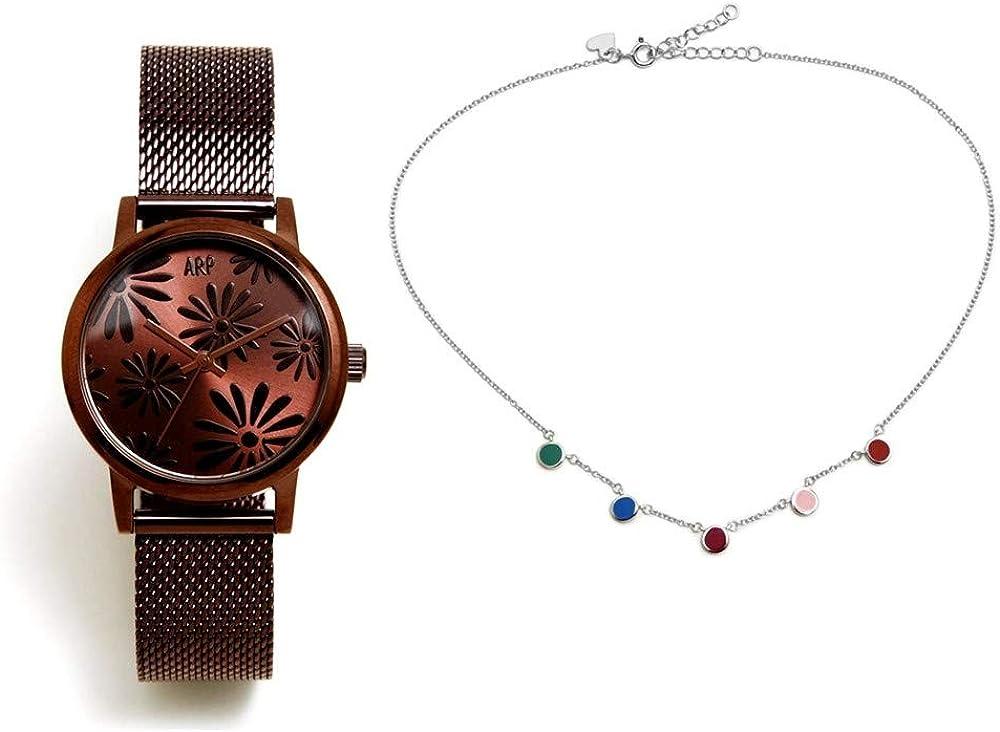 Juego Agatha Ruiz de la Prada reloj AGR262 chocolate gargantilla plata Ley 925m círculos colores - Modelo: AGR262