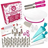 Cakebe 80-Piece Cake Decorating Supplies Kit with Cake Turntable, Extended Baking Supplies with 53 Icing Tips, 10 Piping Bags, 2 Silicone Pastry Bags, Cake Scrapper, 2 Icing Spatula