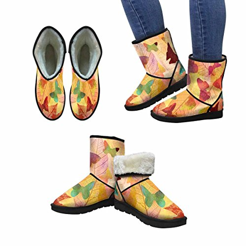 InterestPrint Womens Snow Boots Butterflies On Skeleton Leaves, Autumn Seamless Pattern Unique Designed Comfort Winter Boots Multi 1