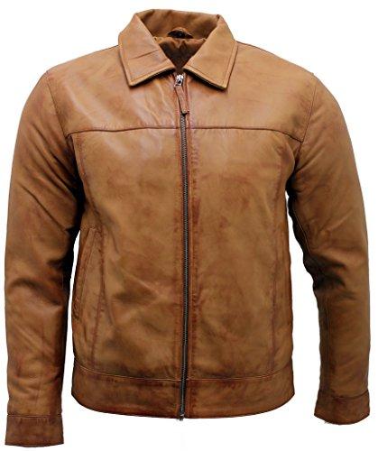 Bronzer Retro Homme Veste de Motard cuir Nappa