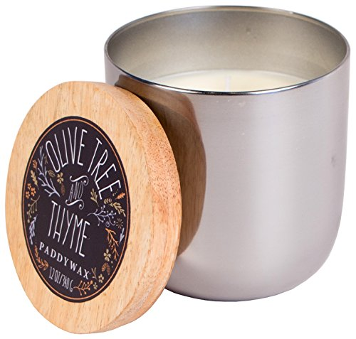 Paddywax Foundry Collection Scented Soy Wax Candle in Silver, 12-Ounce, Olive Tree & Thyme (Oil Olive Pretty)
