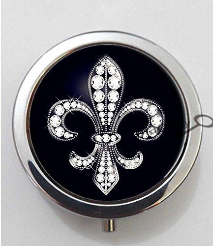 BlackKey Fleur De Lis Design 3-Compartment Decorative Pocket Gift Box Case Organizer for Pill, Color 1 -395