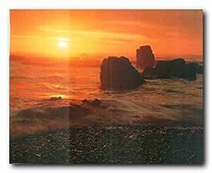 De puesta de sol en Ecola parque estatal Oregon horizontal