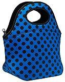 SWEET CONCEPTS Insulated Reusable Neoprene Lunch Bag - Blue Polka Dot