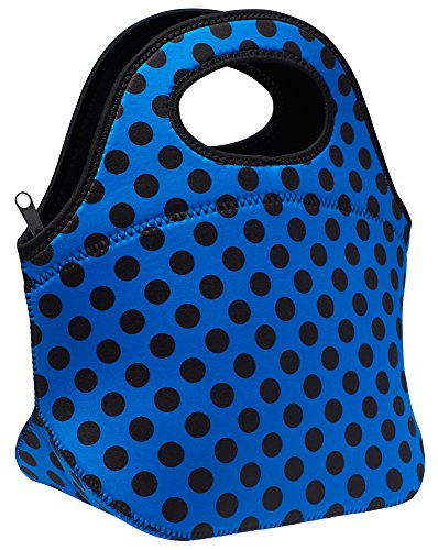 SWEET CONCEPTS Insulated Reusable Neoprene Lunch Bag - Blue Polka Dot (Blue Ninja Turtle Name)