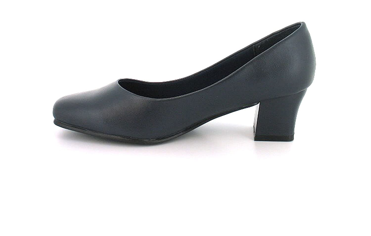New Womens/Ladies Wide Fitting Court Shoes.(4.5Cm Heel) - Navy Blue - UK  SIZES 3-8: Amazon.co.uk: Shoes & Bags