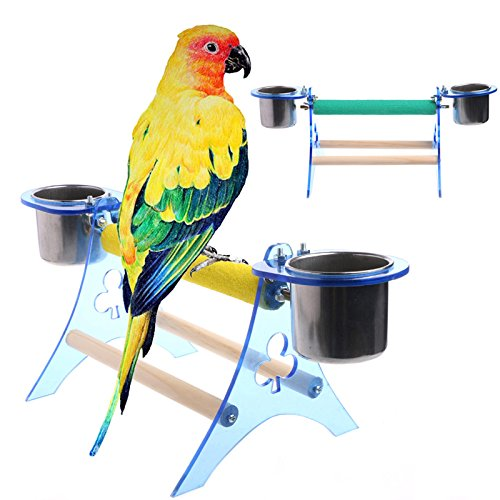 LANDUM Parrot Perch Stand Platform Play Fun Toys Pet Wooden Playstand Cup For Bird Cage Color Random