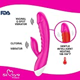 Sixty9 Products Waterproof Rechargeable Heated G-Spot Dildo Dual Vibrator Sex Toy for Adults and Couples - Multi-Speed Massager