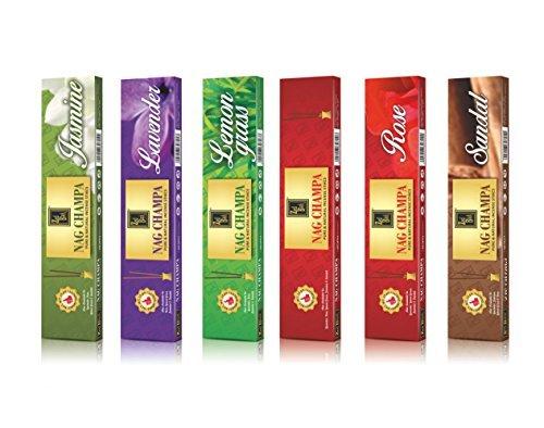 (NagChampa Premium Natural fragrance sticks - Pack of 6 (10 Sticks Per Box))