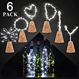 Wine Bottle Lights Natural Cork Base, 6 Pcs 2ft/15 LED Cork Lights DIY Shape Copper Wire Light Fairy Starry Mason Jars String Lights Mood Decor for Dinner Table,Centerpiece,Party,Wedding(Cool White)