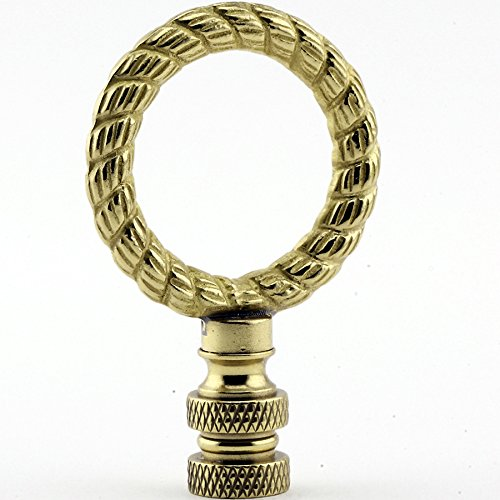 Polished Twisted Rope - Twisted Rope Ring Lamp Finial - Polished Brass - 2.5 Inches High