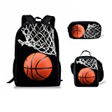 doginthehole Basketball Print Backpack One Set 3 Piece Boy Girls Rucksack School Bags