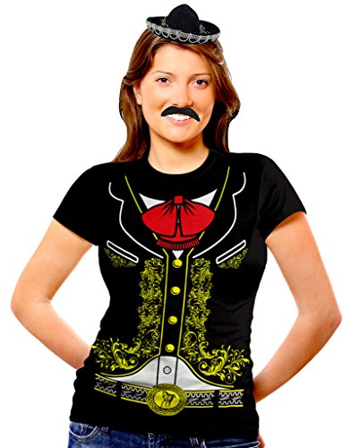 Viva Mexico Womens Mariachi Costume Shirt Sombrero Hat & Mustache Bundle T-Shirt Medium (Ladies Mariachi Costume)