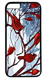 Cardinal Bird In Snow Masterpiece Limited Design PC Black Case for iphone 6 by Cases & Mousepads