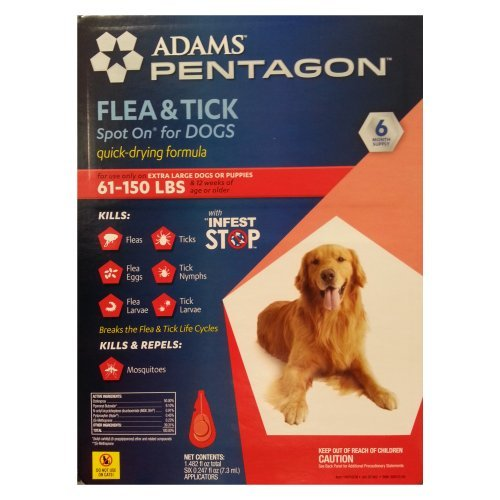 2 Wholesale Lots Adams Pentagon Flea & Tick Spot On for Dogs - For Extra Large Dogs or Puppies, 12 Month Supply Total by SSW Wholesalers
