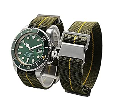 Span Realm Man's Parachute Special Elastic Nylon Band 20/22mm High-end Superior Watch Nylon Strap (20mm, Army Green-Silver Buckle)