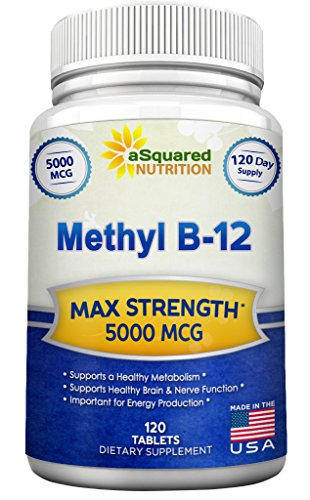 Vitamin B12 – 5000 MCG Supplement with Methylcobalamin (Methyl B-12) – Max Strength Vitamin B 12 Support to Help Boost Natural Energy & Metabolism, Benefit Brain & Heart Function – 120 Tablets