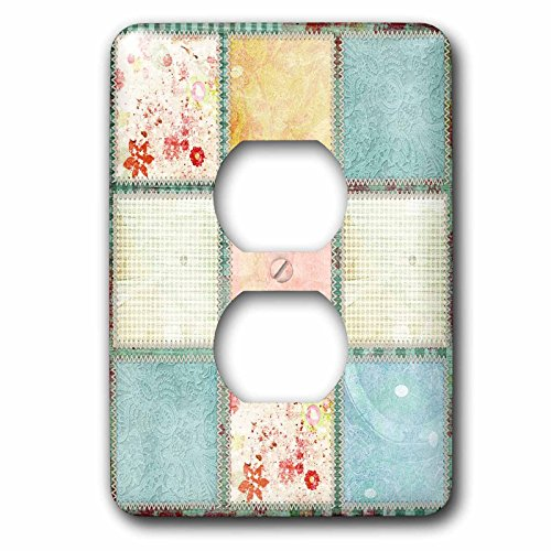 Grunge Lace - 3dRose LSP_79096_6 Romantic Grunge and Lace Collage Plug Outlet Cover