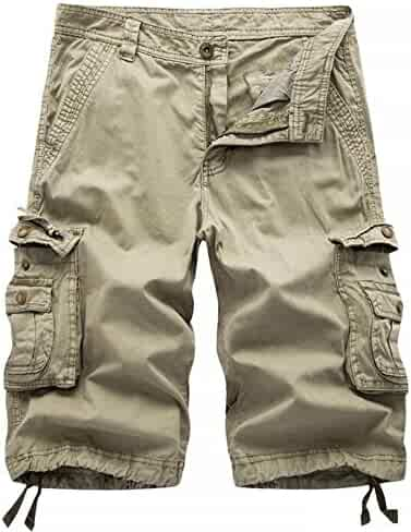 7645f72222 DONSON Mens Camo Multi-Pocket Cargo Shorts Casual Loose Fit Shorts Cotton
