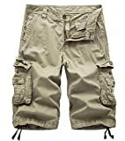 AOYOG Mens Solid MultiPocket Cargo Shorts Casual Slim Fit Cotton Solid Camo Shorts, Khaki 082, Lable size 36(US 34)