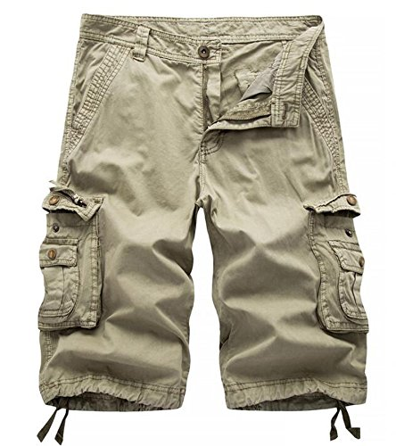 AOYOG Mens Solid MultiPocket Cargo Shorts Casual Slim Fit Cotton Solid Camo Shorts, Khaki 082, Lable size 34(US 32) by AOYOG