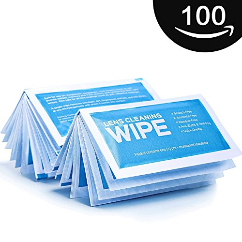 Pre-Moistened Lens Wipes, Large Cloth Electronic Wipes, Anti Static Screen Wipes, Surface Cleaning for Cameras, Cell Phones, Smartphones, LCD Screens and more - Quick Drying, Streak-Free, - Display Eyeglass Computer