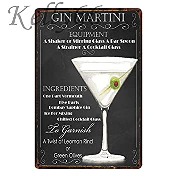 Amazon.com: xiaozeze CIN Martini - Placa decorativa de metal ...