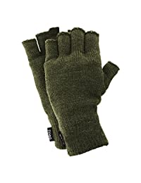FLOSO Mens Thinsulate Thermal Fingerless Gloves (3M 40g) (One Size Fits All) (Olive)
