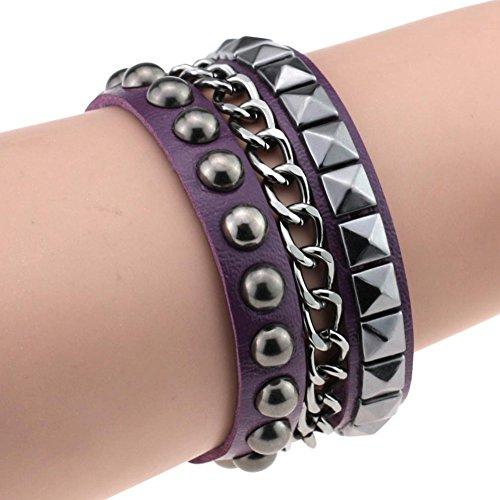 Purple Faux Leather - Wintefei Women's Layered Punk Rock Rivet Bracelet Studded Faux Leather Metal Chain Bangle - Purple