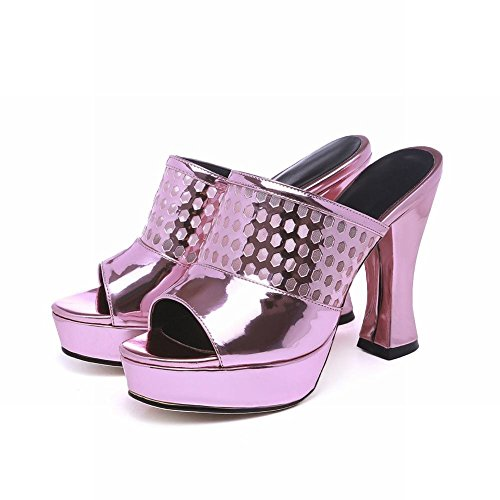 High Carolbar Voile Sandals Shiny Pink Slippers Mesh Patent Chunky Heel Toe Womens Dress Fashion Peep Platform Leather Purple 8PqB8r6w