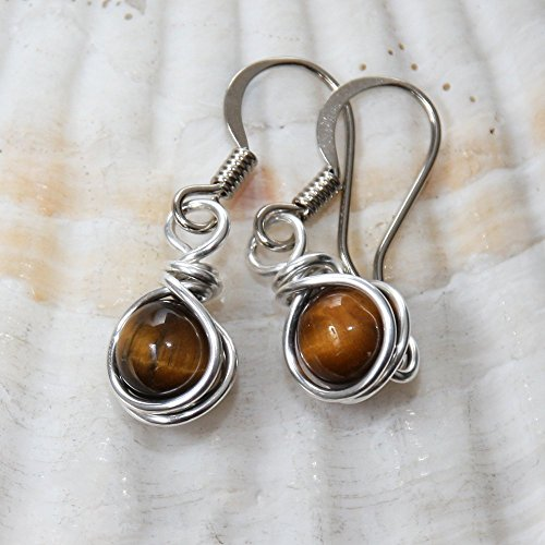 Semi Precious Tiger Eye Drop Earrings - Casual Wear ()