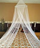 Round Hoop Mosquito Net Bed Canopy Fit Crib, Twin, Full, Queen, King (White)