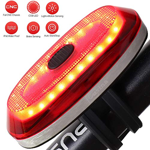 - Lusian Rear Bike Light, Ultra Bright Smart Bike Tail Light,USB Rechargeable Bike Tail Light,IP65 Waterproof with Brake Lighting Induction Bicycle Tail Light Fits On Any Road Bikes,Easy to Install