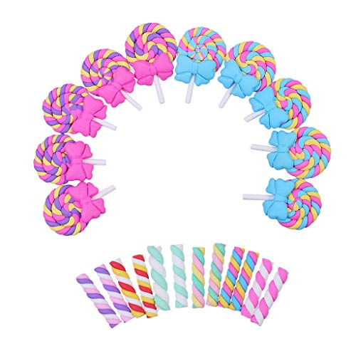 44pcs Kawaii Craft Slime Charm Lollipop with Bow and Candy Clay Flat Back Flatbacks Loose Beads Kid's Bow DIY Craft Scrapbooking Decoration Phone Cover ()