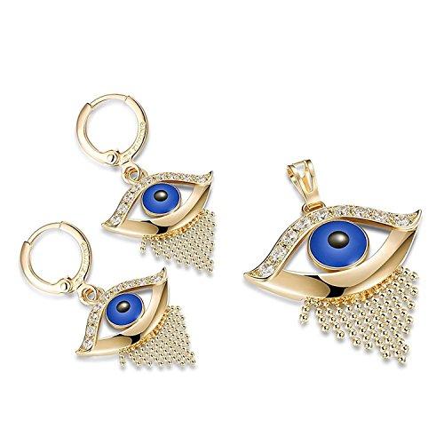 Skyjewelry Turkish Evil Eye Jewelry Set 18k Gold Filled Pendant+Earrings ()