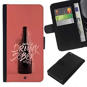 Be-Star la tarjeta de Crédito Slots PU Funda de cuero Monedero caso cubierta de piel HTC DESIRE 816 ( Drunk Sober Wine Bottle Pink Peach )