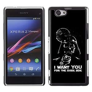 PC/Aluminum Funda Carcasa protectora para Sony Xperia Z1 Compact D5503 Dark Side Quote Angel Devil Art Villain Alien / JUSTGO PHONE PROTECTOR