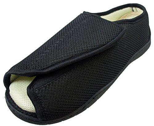 Herren Damen Sehr Breit E/5e Passform Fassung Memory Foam Atmungsaktiv Klettverschluss Pantoffeln - Schwarz Überkreuz, 9 UK (EU 43)