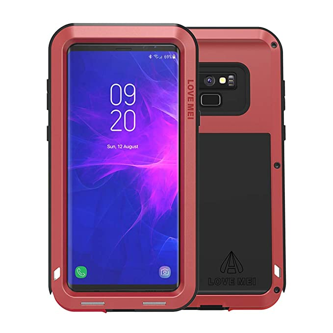 separation shoes d18e4 502cd Galaxy Note 9 Case, Armor Hybrid Aluminum Alloy Cover Heavy Duty Gorilla  Glass Rubber Waterproof Shockproof 360 Protective Military Outdoor Men  Bumper ...