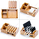 Real Wood Multi Device Organizer for using with Multiple USB Charging Station like Anker, RAVPower, Poweradd USB chargers for Smartphones and Tablets from UATech