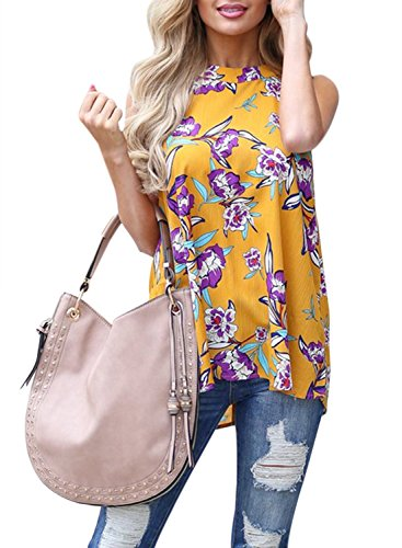 Sweetnight Women's Floral Printed Tank Tops Sleeveless Blouse Shrits Loose Flowy Tanks Cami Shrits (Yellow, ()